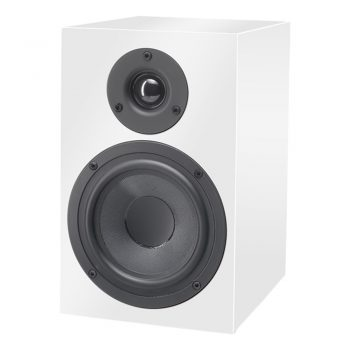 Front view image of glossy white Pro-Ject Speaker Box 5 Bookshelf Speakers