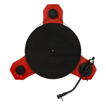 Top view image of red Crosley C3 record player