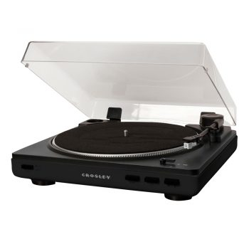Image of black Crosley Auto T400 record player with dust cover