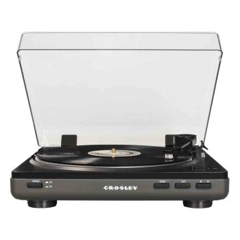 Photo of grey Crosley Auto T400 record player with dust cover