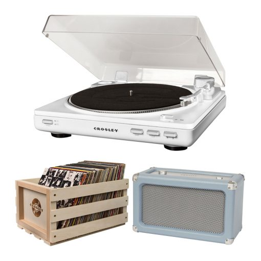 Photo of white Crosley Auto T400 turntable with record storage crate and tourmaline Charlotte speaker